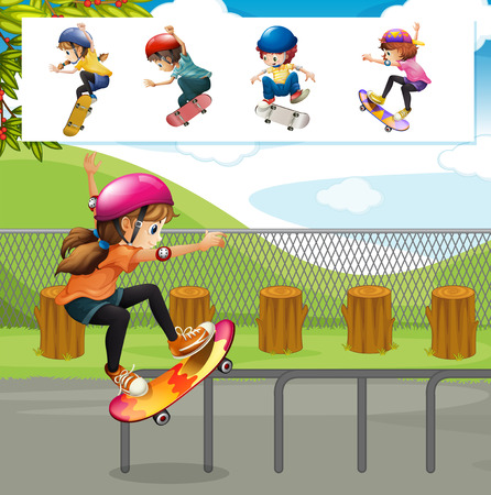 skateboard park: Kids playing skateboards in park illustration