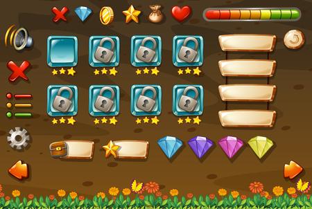 money button: Game template with underground background illustration