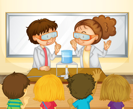 experimento: Estudiantes que hacen experimento de la ciencia en la ilustración del aula