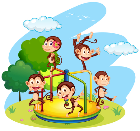 roundabout: Five monkeys playing on roundabout illustration