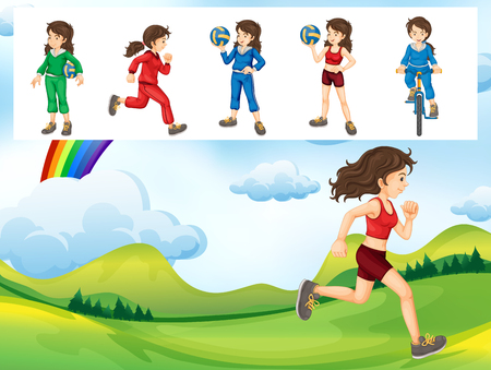 jogging: Woman doing different kinds of sports illustration