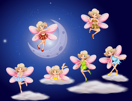 moon angels: Fairies flying in the sky at night illustration