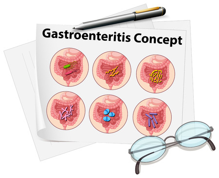 gastroenteritis: Gastroenteritis concept on paper illustration