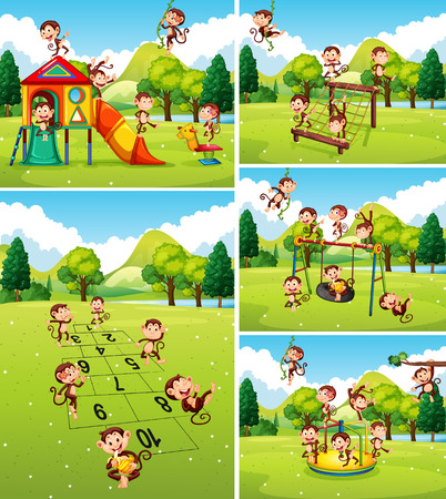 many: Lots of monkeys playing on playground illustration Illustration