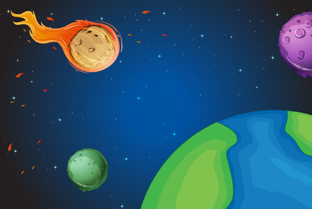 comet: Space scene with comet over the earth illustration