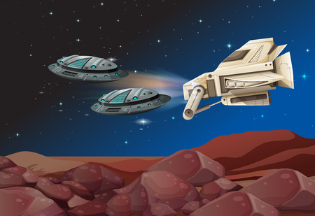 unidentified: Spaceships flying over the land illustration