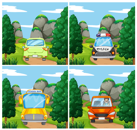 digital art: Scenes with different cars on the road illustration