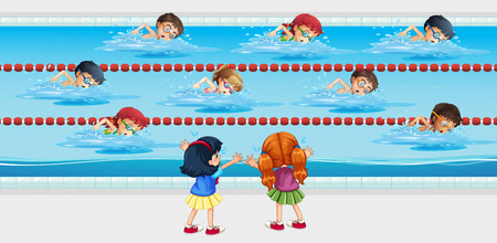 game of pool: Kids practice swimming in the pool illustration