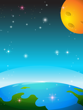 earth from space: Space scene with earth and moon illustration