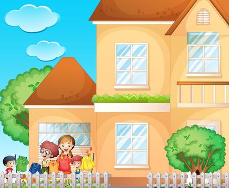chore: Kids doing chore at home illustration