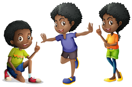 Three african american kids illustration Vectores