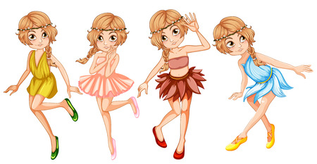 fantacy: Four fairies in beautiful outfit illustration