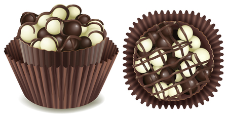 white chocolate: Dark and white chocolate in cup illustration
