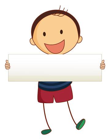 bulletin: Little boy holding white board illustration Illustration