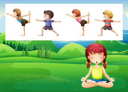 yoga outside: People doing yoga in the park illustration Illustration