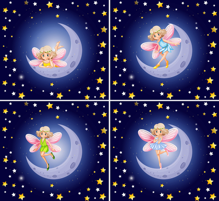 moon angels: Scenes with fairy and stars illustration