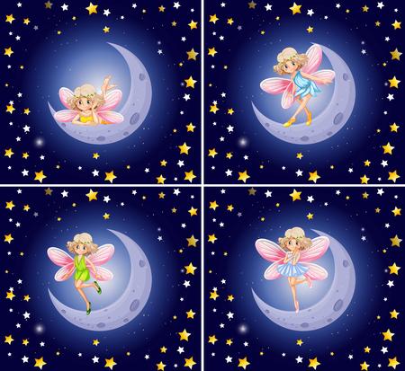 stars night: Scenes with fairy and stars illustration