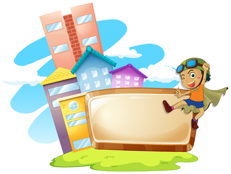 role play: Frame design with boy being hero illustration