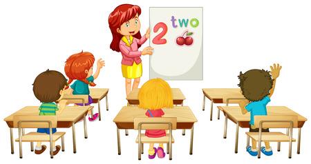 teacher teaching: Math teacher teaching children in class illustration Illustration