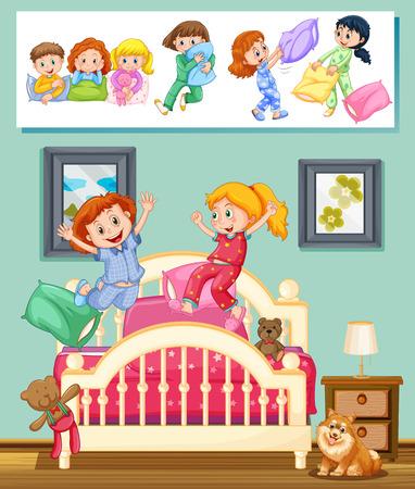 slumber party: Kids at slumber party in bedroom illustration Illustration