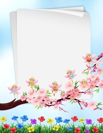 borde de flores: Paper design with flowers and fairies illustration