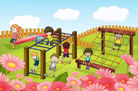 bar scene: Children playing in the playground illustration