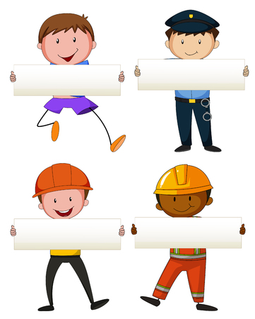 four people: Four people holding white papers illustration Illustration