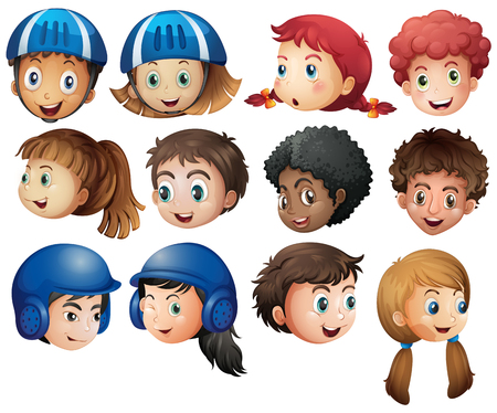 adolescent boy: Boys and girls with happy face illustration Illustration