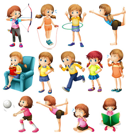 hulahoop: Girls doing different activities illustration Illustration