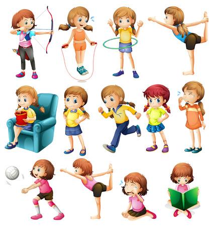 hulahoop: Girls doing different activities illustration Illustration