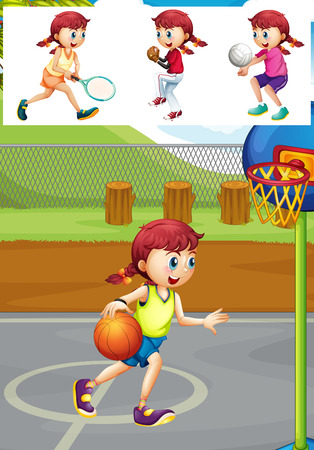 sports girl: Girl playing different types of sports illustration
