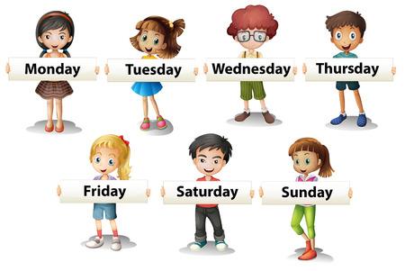 Niños con las tarjetas diciendo días de la semana ilustración