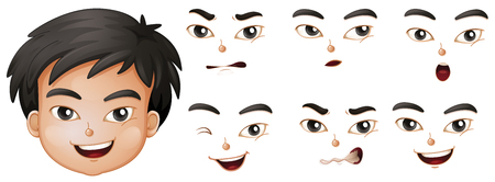 expresiones faciales: Boy with different facial expressions illustration Vectores