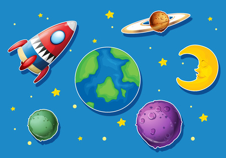 eart: Rocket and many planets in space illustration