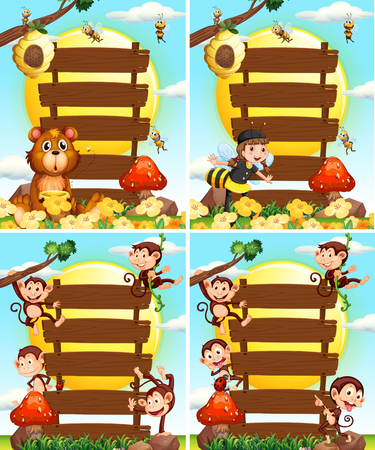Wooden signs with monkeys and bees illustration