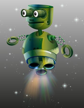 bot: Green robot flying in the space illustration Illustration