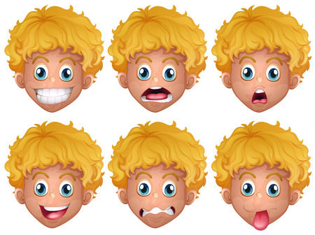 astonished: Boy with different facial expressions illustration Illustration