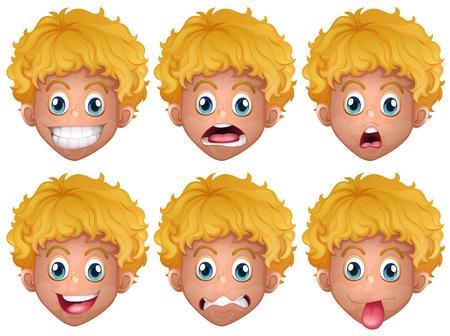 expresiones faciales: Muchacho con diferentes expresiones faciales ilustración