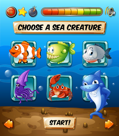 game fish: Game template with fish in the sea illustration