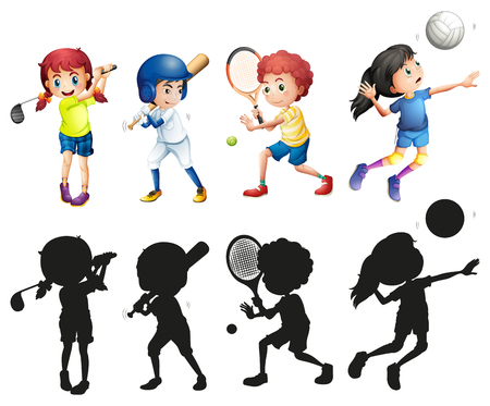 teen golf: Boys and girls doing sports illustration Vectores