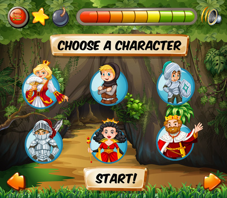 computer game: Computer game template with fairytales characters illustration