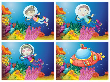 Kids scuba diving under the sea illustration Illustration
