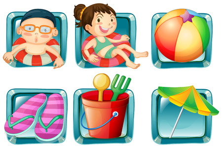 sandles: Kids and beach objects square badges illustration