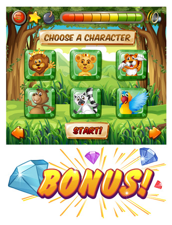 wildlife: Computer game template with wildlife characters illustration