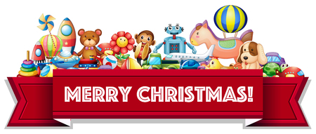 Merry Christmas sign with many toys illustration