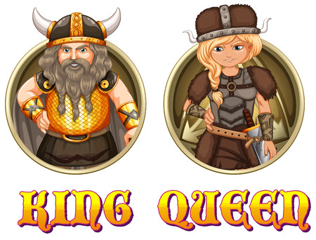 medieval woman: King and queen of vikings illustration