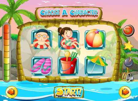 sandles: Slot game template with children characters illustration