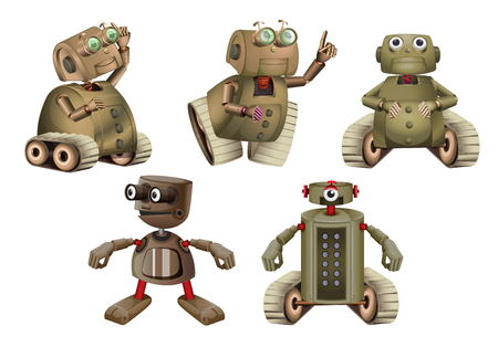 automaton: Robot in different actions illustration