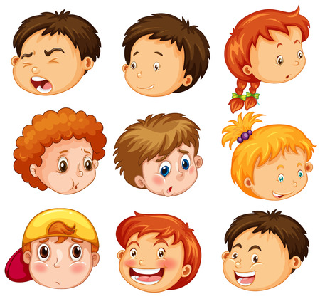 child drawing: Faces of girl and boys with emotions illustration