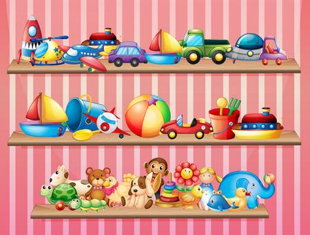 toy fish: Shelves full of different toys illustration Illustration
